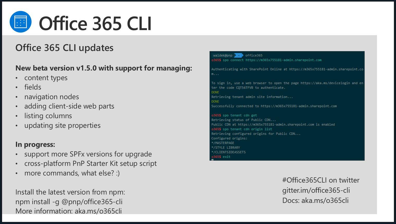SharePoint PnP Dev SPFx JS SIG Call – Aug 2nd, 2018 – Screenshot