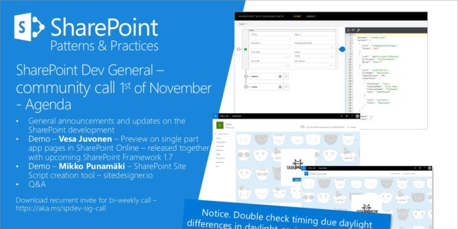 SharePoint PnP Dev General SIG Call – Nov 1st, 2018