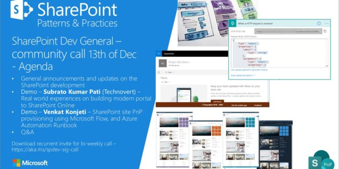 SharePoint PnP Dev General SIG Call – Dec 13th, 2018