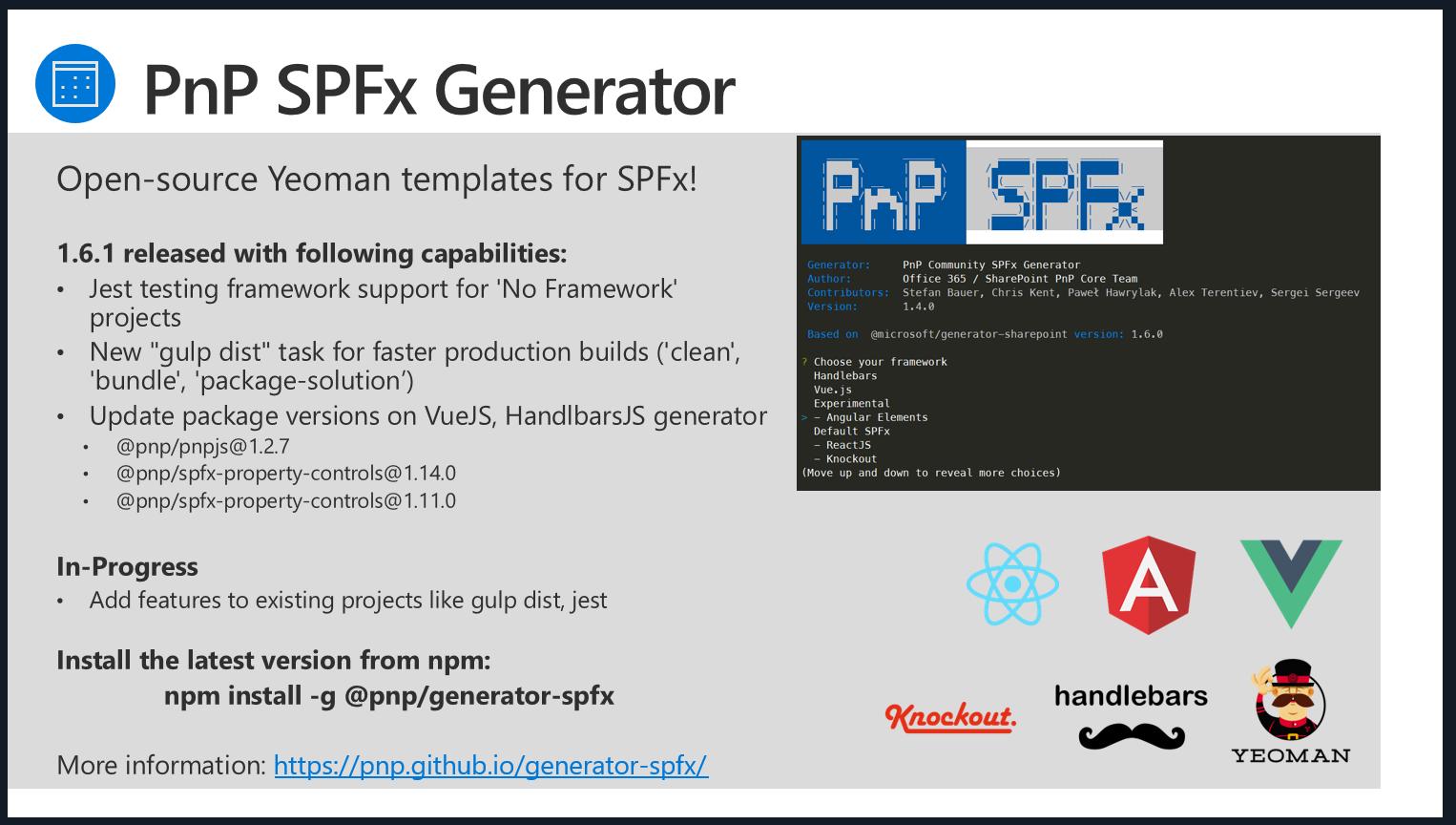 SharePoint PnP Dev SPFx JS SIG Call – Jan 31st, 2019