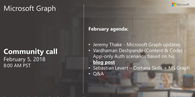 Microsoft Graph Community Call Screenshot Summary - February 5th