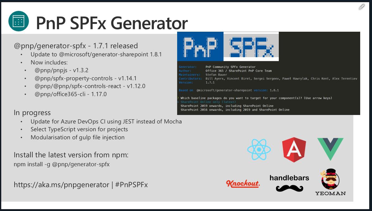 SharePoint PnP Dev SPFx JS SIG Call – April 25th, 2019 – Screenshot