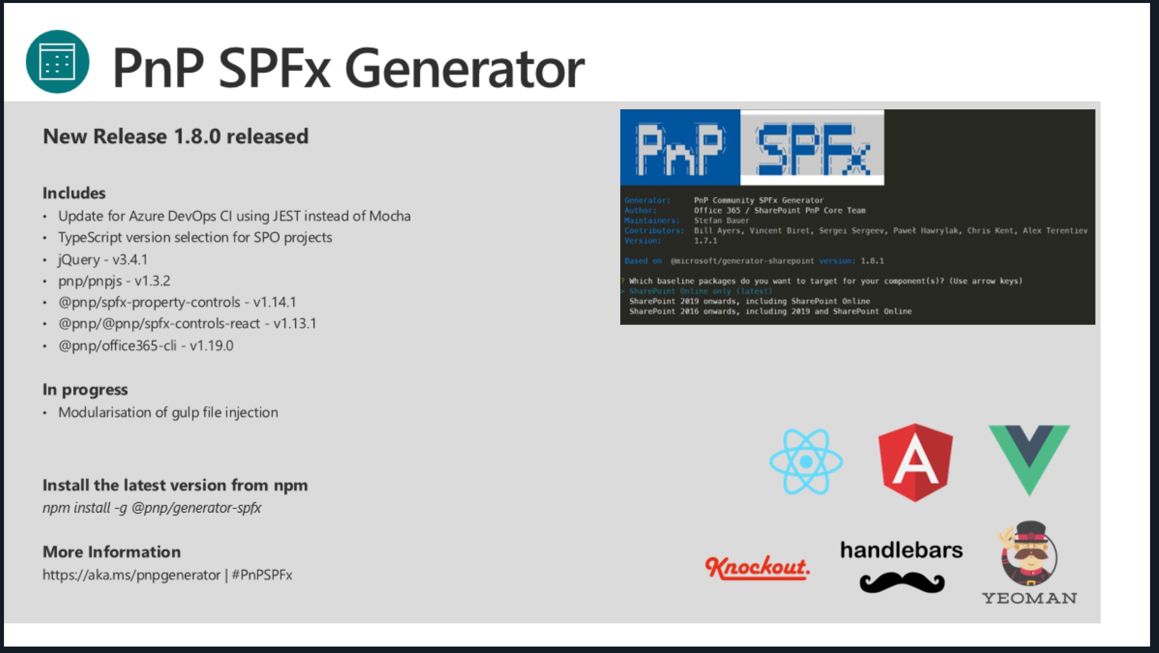 SharePoint PnP Dev SPFx JS SIG Call – May 23rd, 2019 – Screenshot