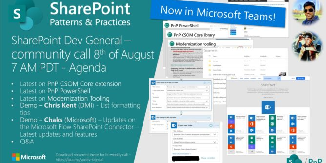 SharePoint PnP Dev General SIG Call – August 8th, 2019